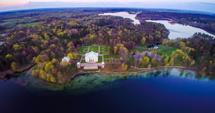 Lithuania aerial. Most beautiful places, Uzutrakis palace stock photo