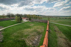 Lithuania: aerial view of gothic Medininkai castle Stock Images