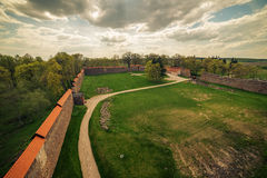 Lithuania: aerial view of gothic Medininkai castle Royalty Free Stock Image