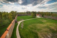Lithuania: aerial view of gothic Medininkai castle Stock Image
