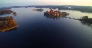 Lithuania beautiful places. The castle of Trakai aerial view flight from above, famous Lithuanian places bird's eye view stock video footage