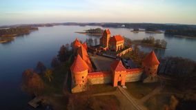 Lithuania, the castle of Trakai. At sunrise, aerial view video stock video footage