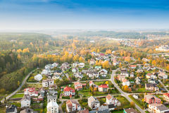Lithuania city at fall. Lithuania city Nemencine from above Royalty Free Stock Photography
