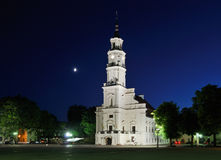 Lithuania. City of Kaunas. Illuminated city hall Stock Photo