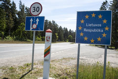 Lithuania country border sign Stock Photos