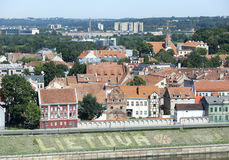 Lithuania On Embankment. The word `Lithuania` with a basketball ball painted on the side of embankment next to Kaunas old town Lithuania stock photography