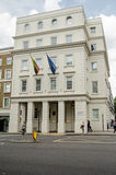 Lithuania Embassy, London. LONDON, UK - JULY 6, 2014:  Pedestrians passing the Embassy of Lithuania in Pimlico, London Stock Photos