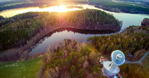 Lithuania Ethnocosmology Museum. Aerial view at sunset Stock Image