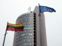 Lithuania and European Union flag. Lithuania is member of European Union. Flags in Vilnius Stock Photo