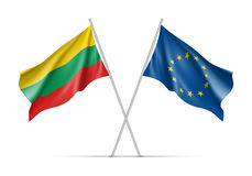 Lithuania and European Union waving flags Royalty Free Stock Image
