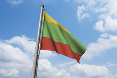 Lithuania Flag with Clouds Royalty Free Stock Images