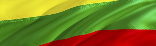Lithuania flag. 3D rendering Waving flag design. The national symbol of Litva. 3D Waving sign design. Waving sign background. Wallpaper. Lithuania 3D pattern royalty free stock photography