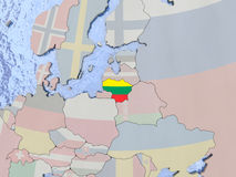 Lithuania with flag on globe. Map of Lithuania with national flag on political globe with realistic water. 3D illustration Stock Photography