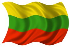 Lithuania flag isolated. 2d illustration of lithuania flag stock illustration