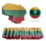 Lithuania Symbols. Lithuania flag and map in different styles in different textures Stock Photo