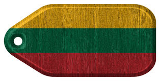 Lithuania flag. Painted on wooden tag Stock Images