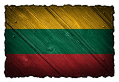 Lithuania flag. Painted on wooden tag Royalty Free Stock Photos