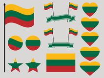 Lithuania flag set. Collection of symbols heart and circle. Vector Stock Images