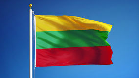 Lithuania flag in slow motion seamlessly looped with alpha stock video footage