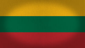 Lithuania flag. Three colors lithuania flag, yellow green and red stripes in this fabric texture background flag, vignette Stock Photography