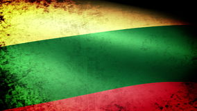 Lithuania Flag Waving, grunge look stock video footage