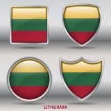 Lithuania flaga w 4 kształtach inkasowych z ścinek ścieżką Obraz Stock