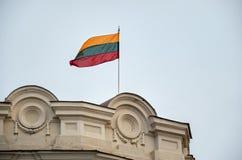 lithuania Flagga av Litauen på byggnaden i Vilnius December 31, 2017 Royaltyfri Fotografi