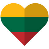 Lithuania flat heart flag Stock Images