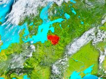 Lithuania in red on Earth Stock Photography