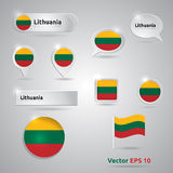 Lithuania icon set of flags Stock Photos