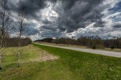 Lithuania Landscape and Nature with Cloudy Sky. Lithuania Russia Border in Background. Lithuania Landscape and Nature with Cloudy Sky Stock Images