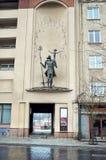 lithuania Le monument vers St Christopher sur le mur dans la rue de Gidemin 31 décembre 2017 Photos libres de droits