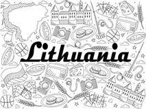Lithuania line art design raster illustration vector illustration