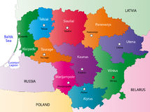 Lithuania map. Designed in illustration with the 10 counties colored in bright colors and with the main cities. On an illustration neighbouring countries are Stock Photo