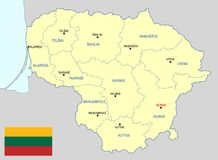 Lithuania map - cdr format Royalty Free Stock Image
