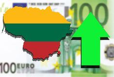 Lithuania map on Euro money background and green arrow rising Stock Photo