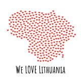 Lithuania Map with red hearts - symbol of love. abstract background. Lithuania Map with red hearts- symbol of love. abstract background with text We Love Royalty Free Stock Photos