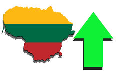 Lithuania map on white background and green arrow rising Stock Image