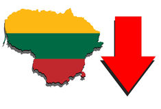 Lithuania map on white background and red arrow down Stock Photography
