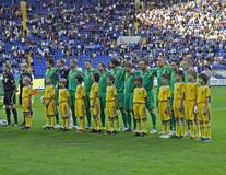 Lithuania national teams at football match Royalty Free Stock Image