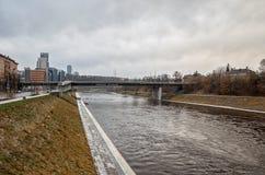 lithuania Neris River à Vilnius 31 décembre 2017 Photos libres de droits