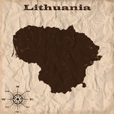 Lithuania old map with grunge and crumpled paper. Vector illustration Royalty Free Stock Photos