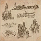 Lithuania. Pictures of Life. Vector pack. Travel collection.LITHUANIA traveling set.Pictures of Life, Republic of Lithuania.Hand drawn vector pack, freehand Royalty Free Stock Photo