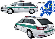 Lithuania Police Car. Colored Illustration from Series Euro police, Vector Royalty Free Stock Photo