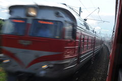 Lithuania Railway Network and Track. Going on Fast Train. Blurry Train in Oposite Side. Royalty Free Stock Image