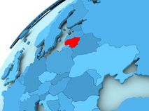 Lithuania on blue globe. Lithuania in red on blue model of political globe. 3D illustration Royalty Free Stock Photography