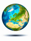 Lithuania on Earth with white background. Lithuania in red on model of planet Earth hovering in space. 3D illustration isolated on white background. Elements of royalty free stock image