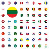 Lithuania round flag icon. Round World Flags Vector illustration Icons Set. Stock Photography