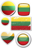 Lithuania - Set of stickers and buttons. Glossy and colorful stickers with reflection set Royalty Free Stock Photos