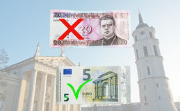 Lithuania switches to Euro Royalty Free Stock Image
